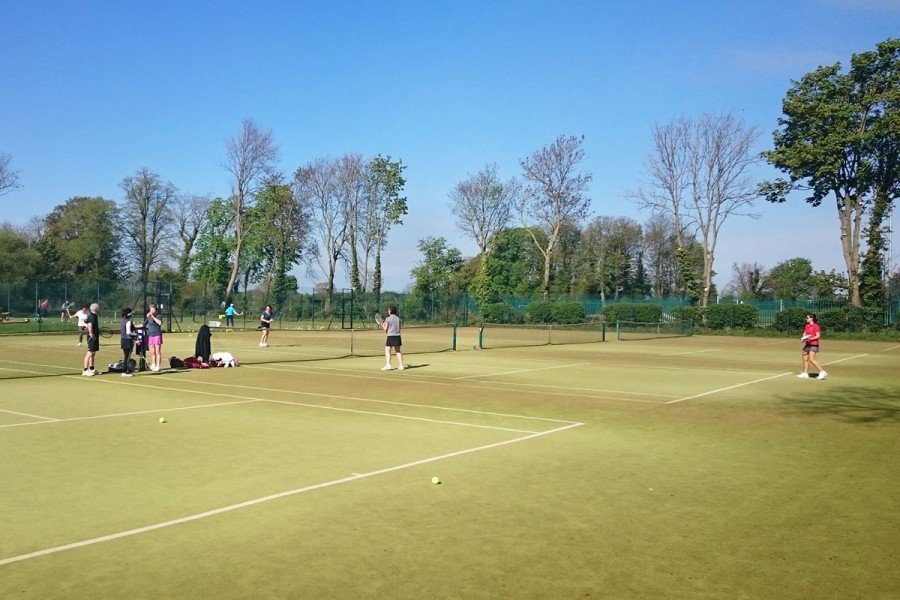 A tennis game during play at Pocklington Tennis Club