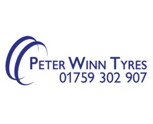 The logo for Peter Winn Tyres, sponsors of Pocklington Tennis Club