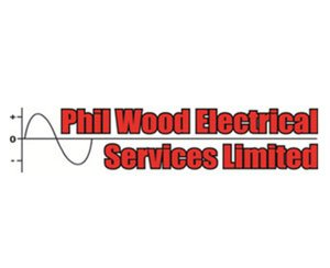 The logo for Phil Wood Electrical Services, sponsors of Pocklington Tennis Club