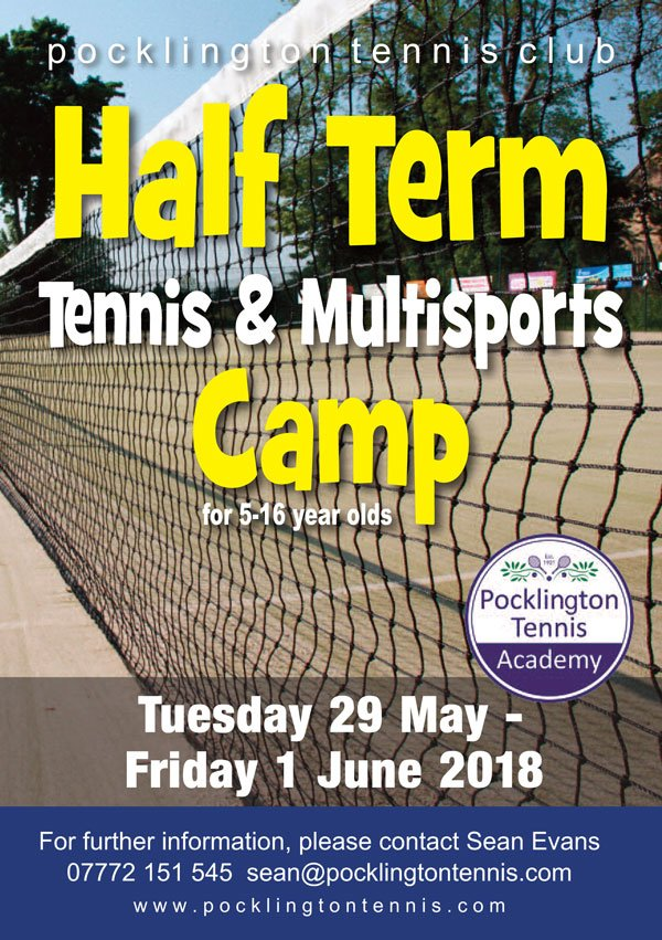 Leaflet for May Half Term 2018 Tennis Camp