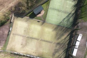 An aerial photo of Pocklington Tennis Club