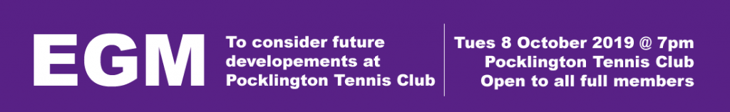 EGM 8 October 2019 at 7pm, Pocklington Tennis Club