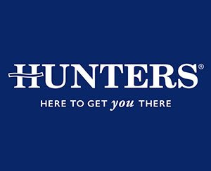 The logo for Hunters Estate Agents, sponsors of Pocklington Tennis Club