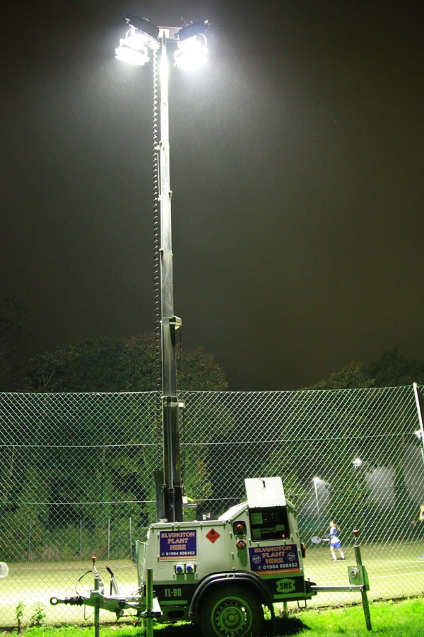Temporary floodlights at Pocklington Tennis Club